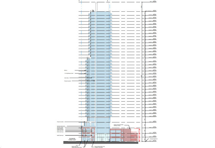 West Building Elevation of 125 George Street Condos
