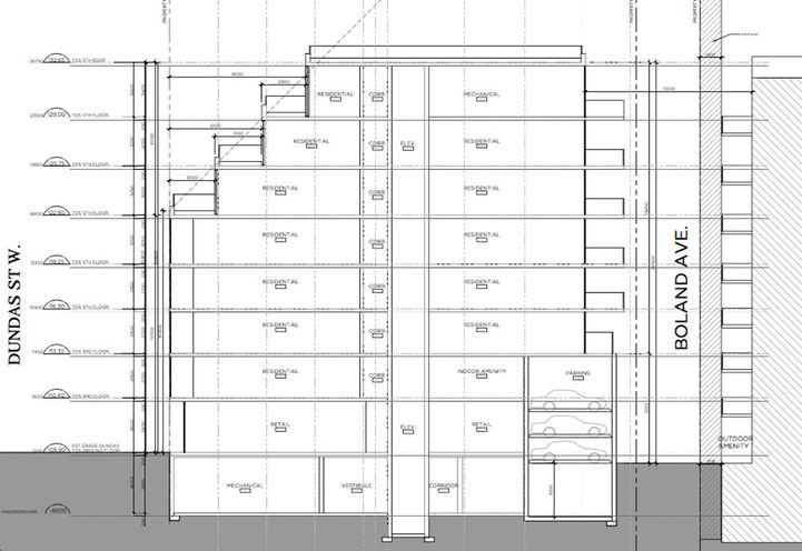 Eastern Building Elevation of 1494 Dundas Street West Condos