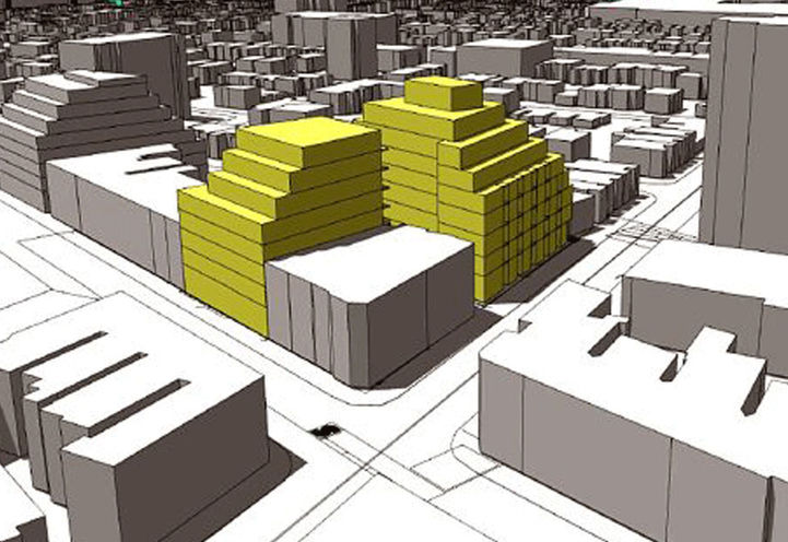 Massing Diagram of 1494 Dundas Street West Condos