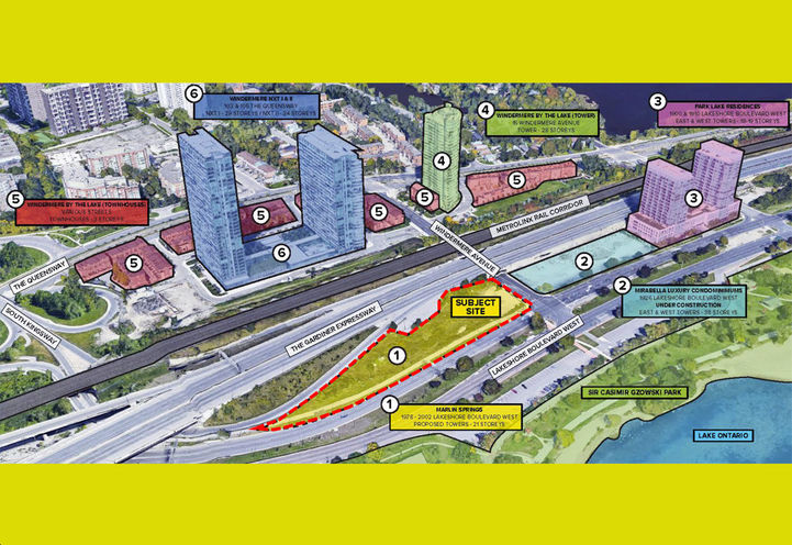 Looking Northwest at 2002 Lakeshore West Condos