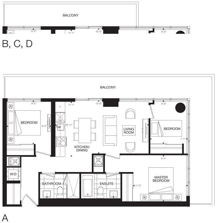 365 Church Condos By Menkes The Dundas 3 Bedroom Floorplan 3 Bed 2 Bath