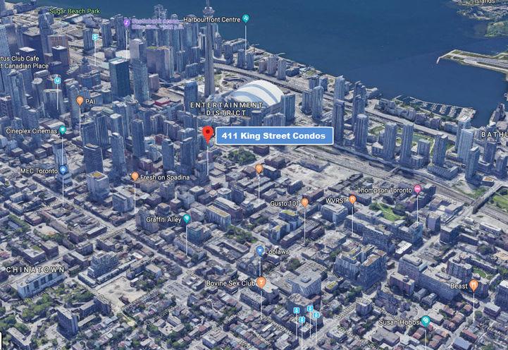 Neighborhood Area Map View of 411 King St Condos