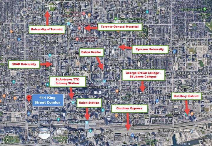 Surrounding Area Aerial Map View of 411 King St Condos