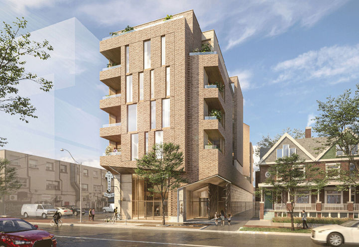 Street Level View of Exteriors and Balconies at 466 Dovercourt Rd