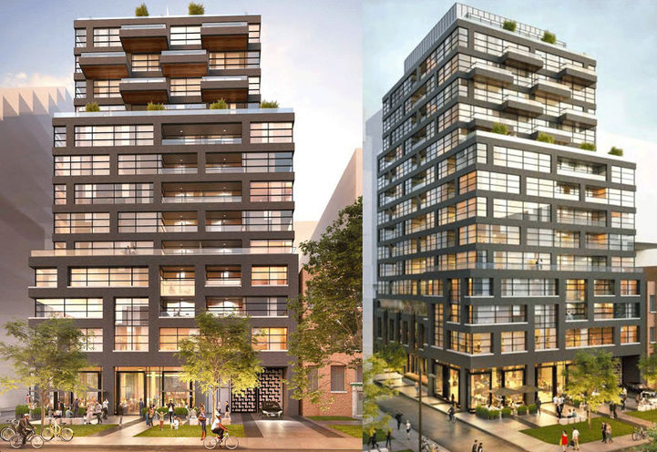 Split Screen Exterior Views of 485 Wellington St West Condos