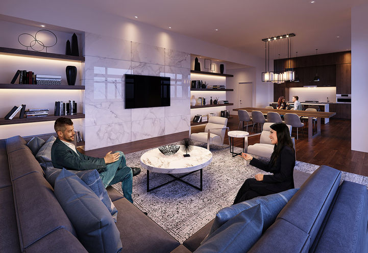Party Room of 50 Ann Condos with TV, Seating and Tables
