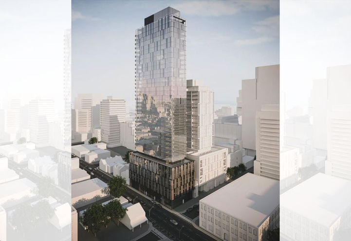 Split Screen View of 75 Ontario Street Condos Tower and Podium