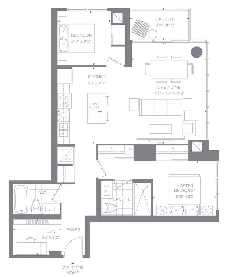 88 condos by minto banyan floorplan 2 bed 2 bath for Floor 88 aqilah