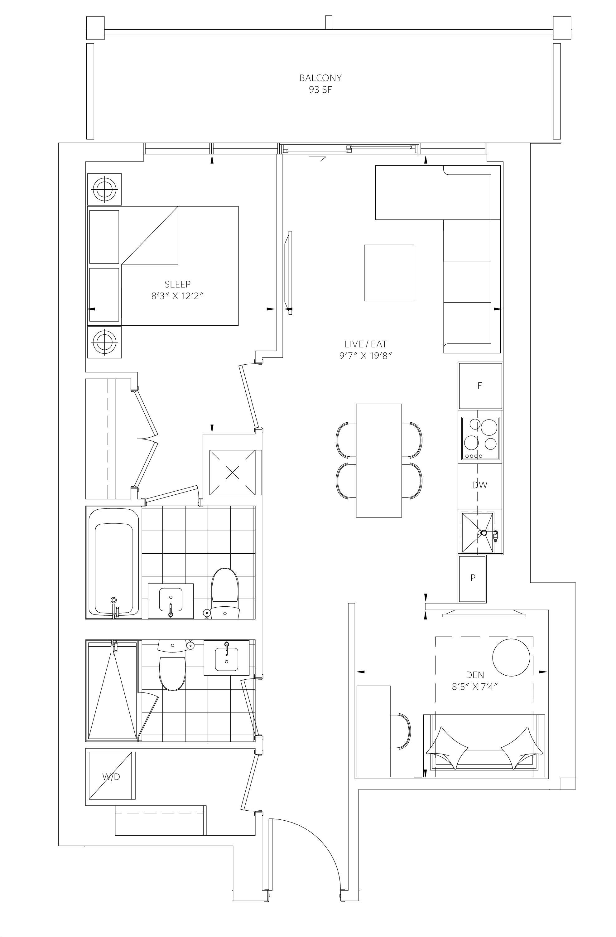88 Queen Condos By St Thomas Development B2 Floorplan 1 Bed 2 Bath