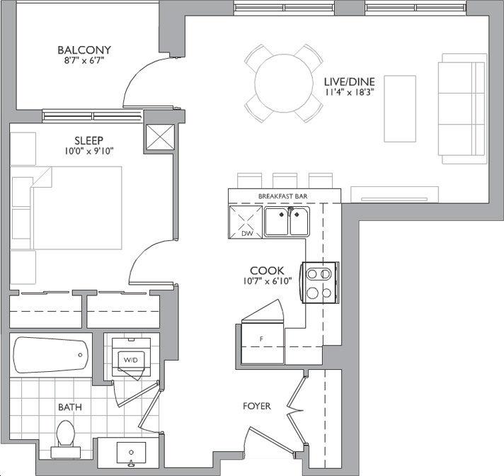 Allegra Condos 2 By Trimax K1 Floorplan 1 Bed 1 Bath