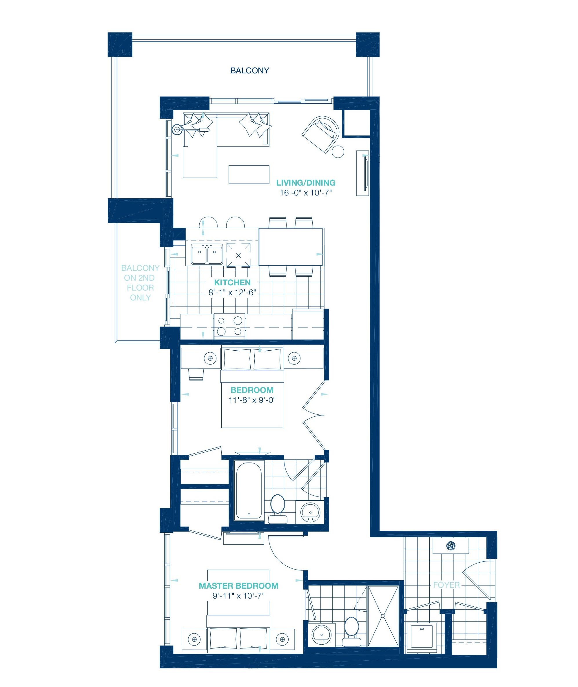 Aquablu Condos By Desantis Beacon Floorplan 2 Bed 2 Bath