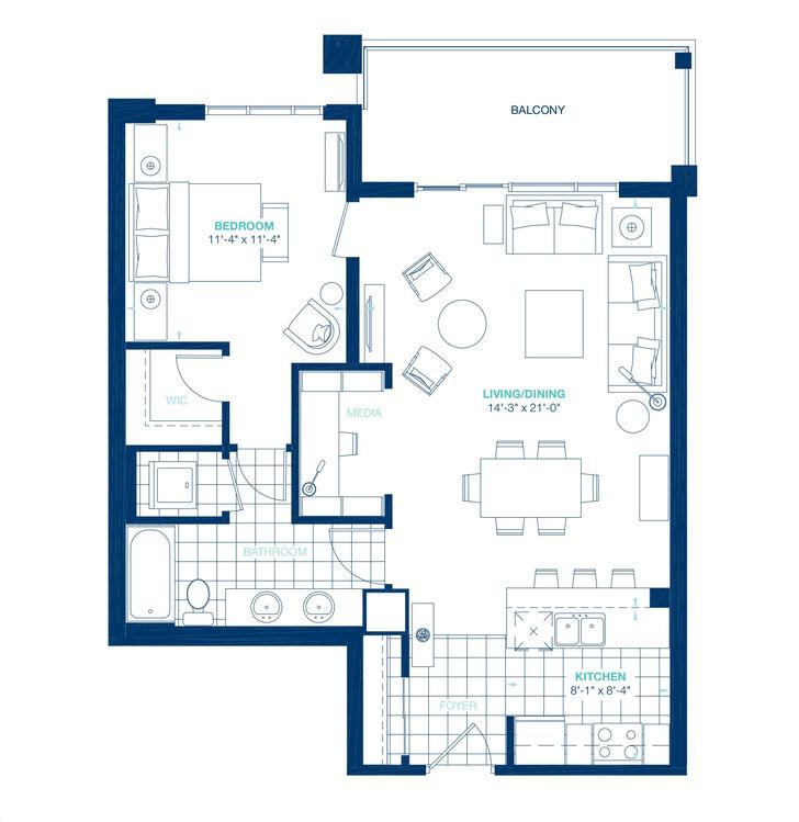 Aquablu Condos By Desantis Century Floorplan 1 Bed Bath