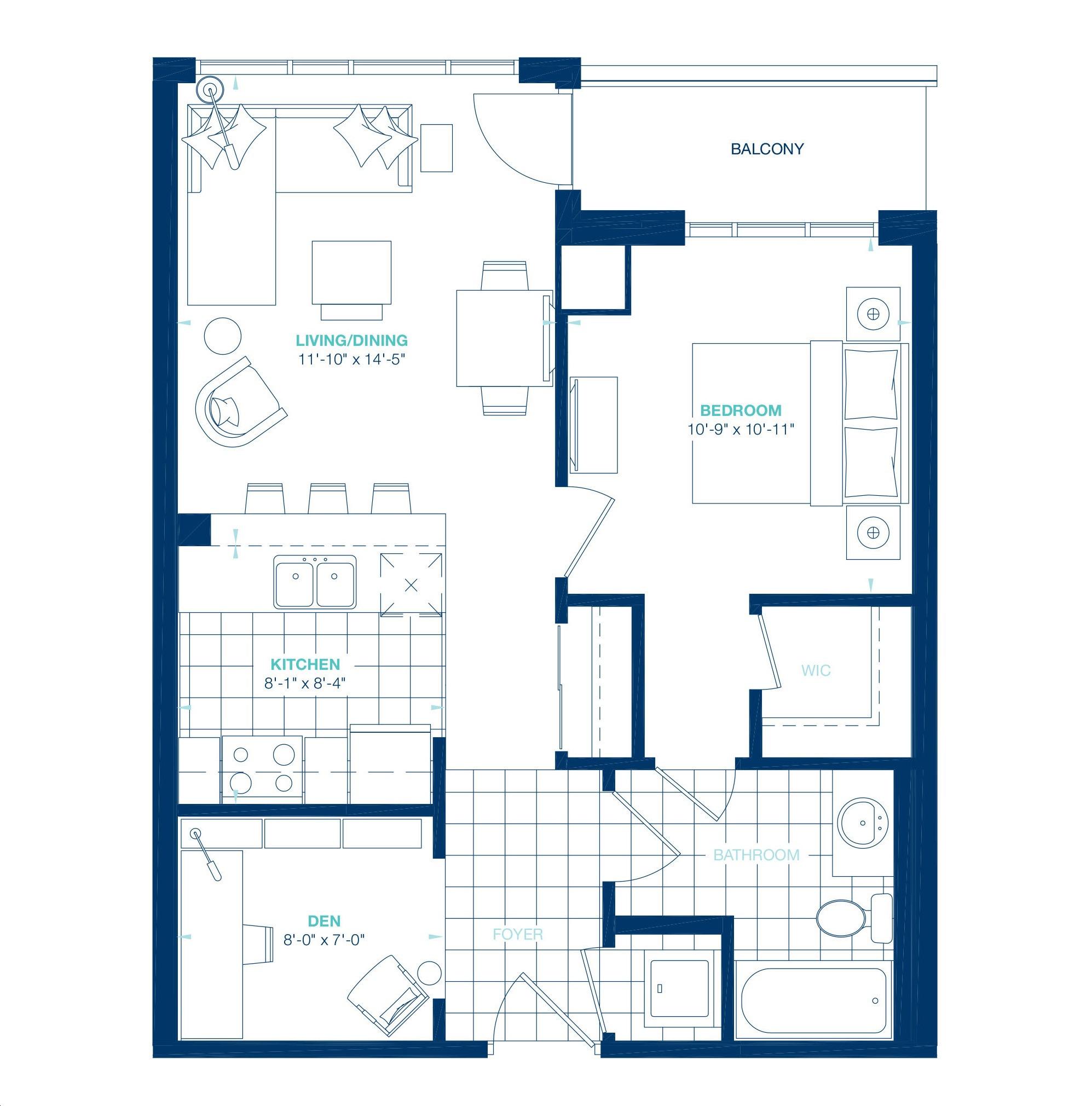 Aquablu Condos By Desantis Delano Floorplan 1 Bed 1 Bath