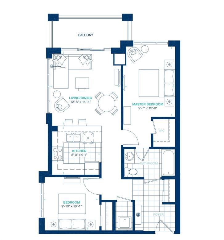Aquablu Condos By Desantis Soho Floorplan 2 Bed 1 Bath