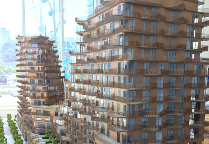 Scale Model Exterior View of Aqualuna Condos by Tridel and Hines