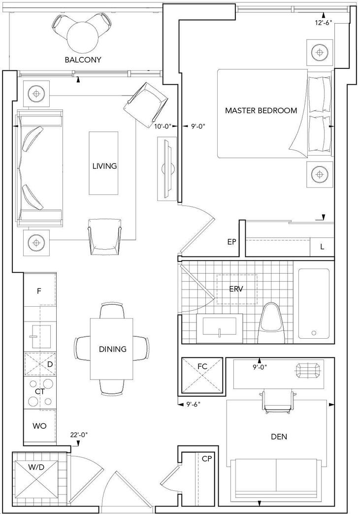 Aquavista Condos At Bayside By Tridel 1a D Floorplan 1 Bed 1 Bath