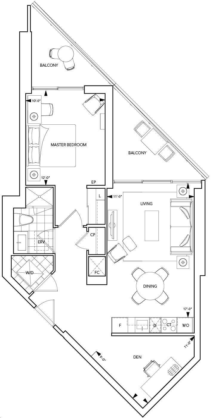 Aquavista Condos At Bayside By Tridel 1e D Floorplan 1 Bed 1 Bath