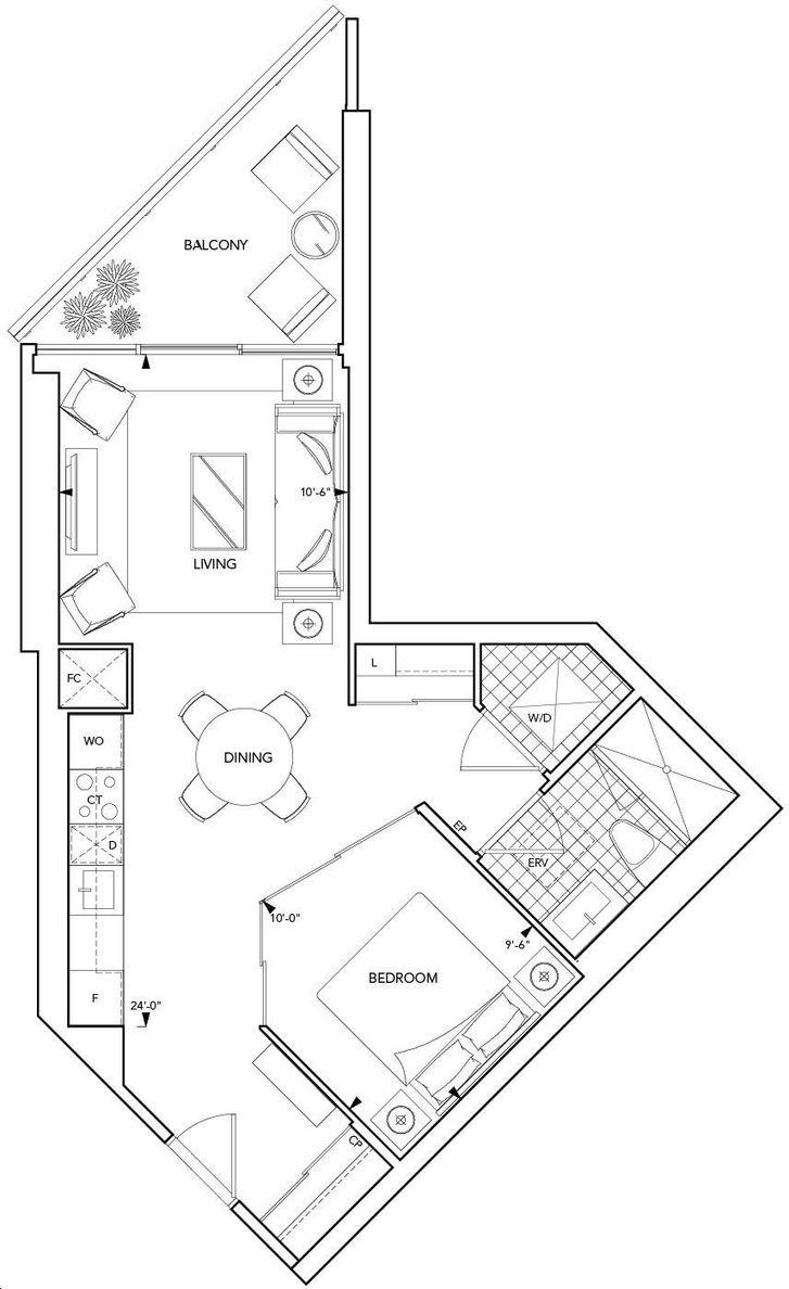 Aquavista Condos At Bayside By Tridel 1e Floorplan 1 Bed 1 Bath