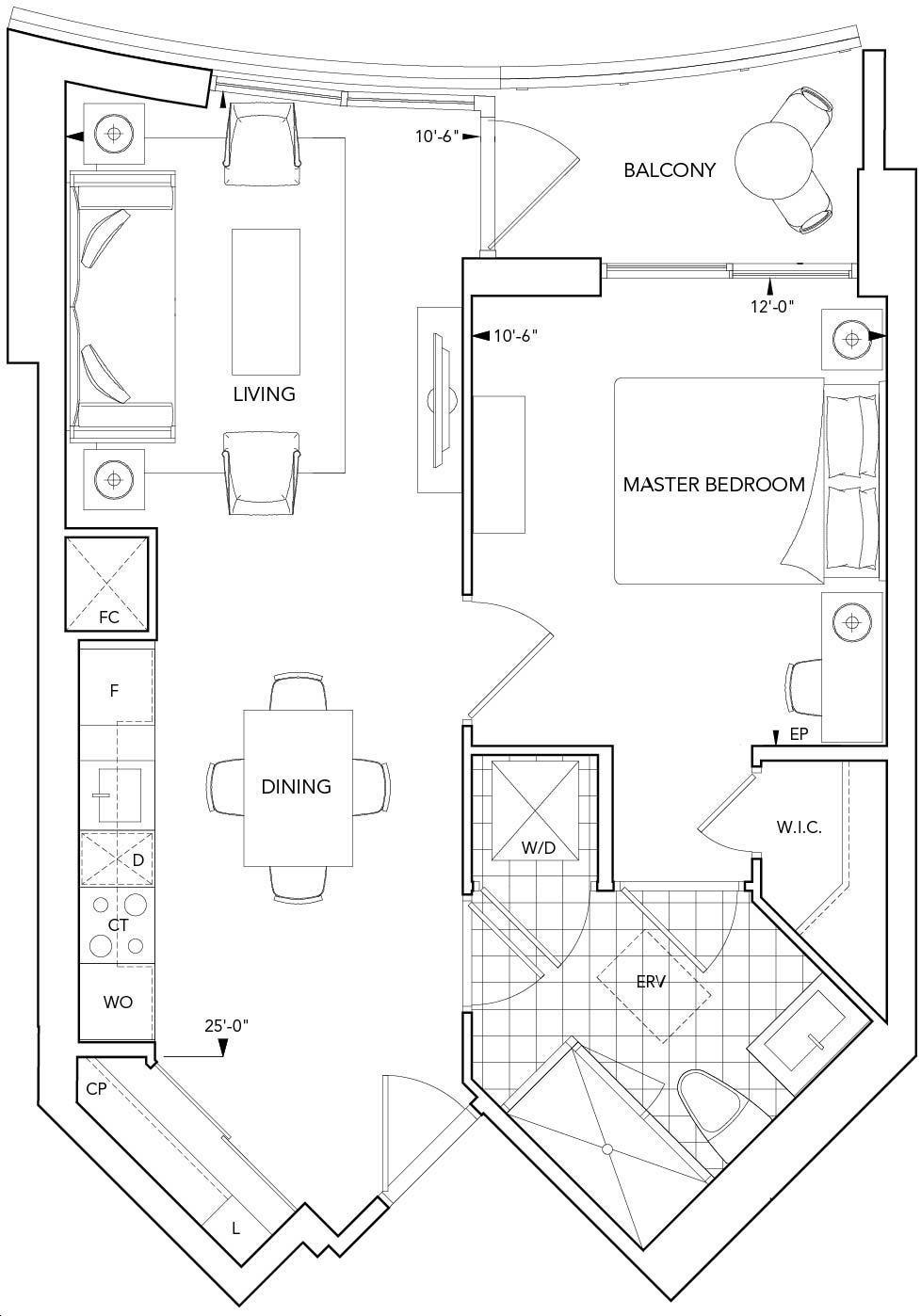 Aquavista Condos At Bayside By Tridel 1p Floorplan 1 Bed 1 Bath