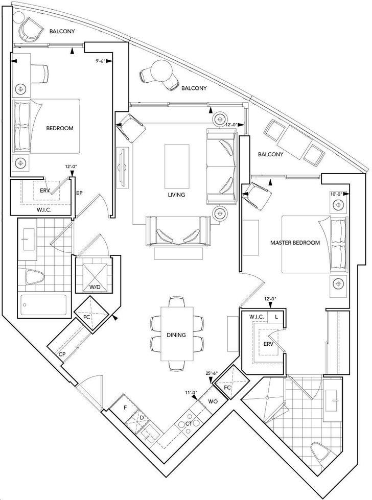 Aquavista Condos At Bayside By Tridel 2f Floorplan 2 Bed 2 Bath