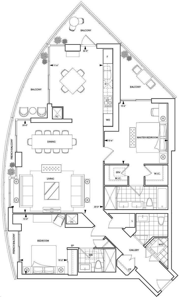 Aquavista Condos At Bayside By Tridel S7 Floorplan 2 Bed 2 Bath
