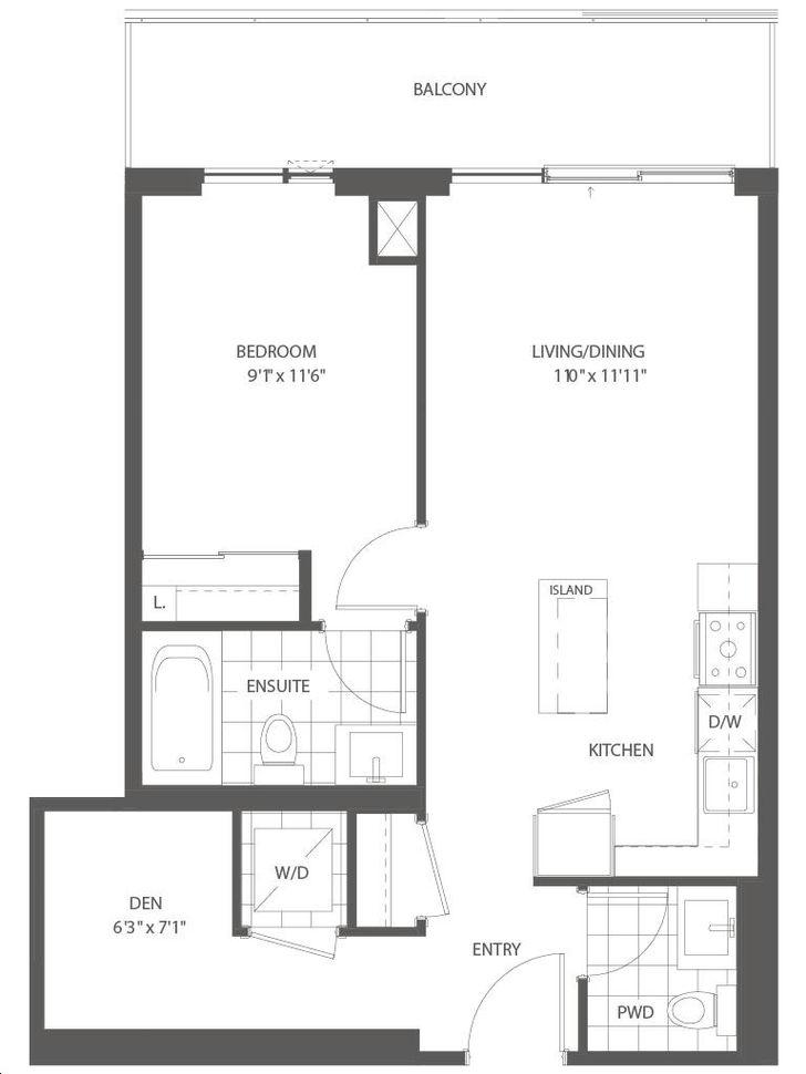 Arc Condos By Daniels The Cyan Floorplan 1 Bed 1 5 Bath