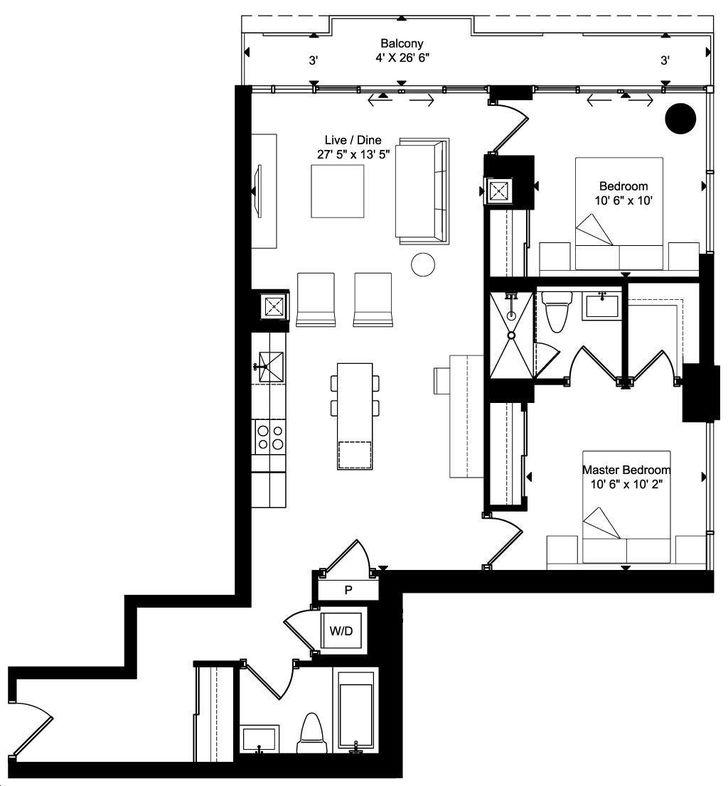 Art Condos By Triangle West D10r Floorplan 2 Bed 2 Bath