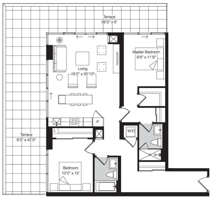 Art Condos By Triangle West D11 Floorplan 2 Bed 2 Bath