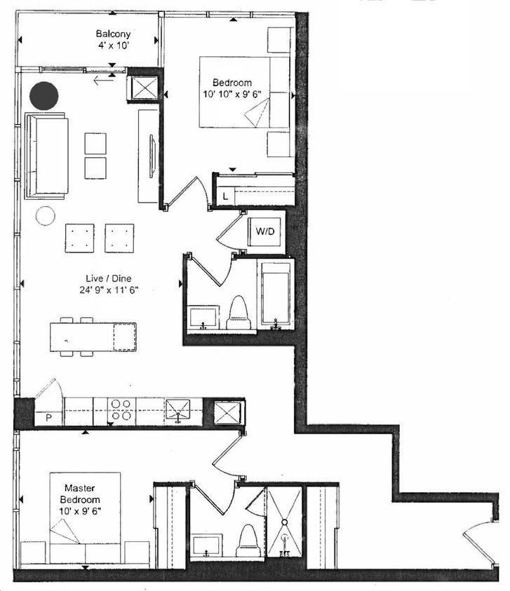 Art Condos By Triangle West D7 D7r Floorplan 2 Bed 2 Bath