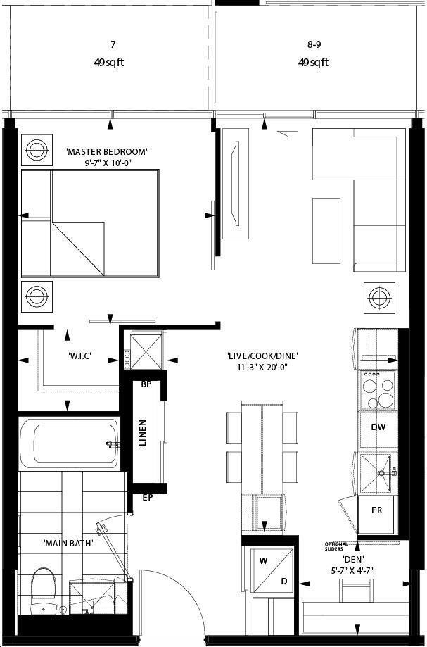 Art Shoppe Lofts Condos By Freed L44 Floorplan 1 Bed 1 Bath