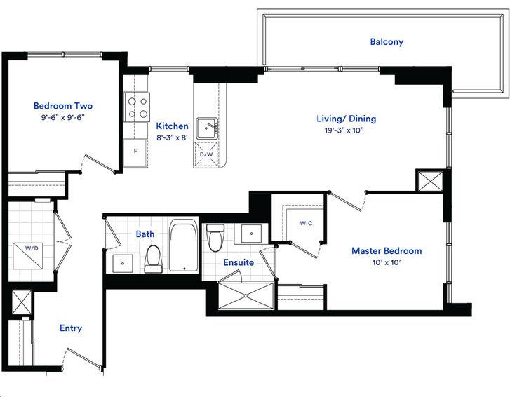 Avia Condos 2 By Amacon Cascade Floorplan 2 Bed 2 Bath