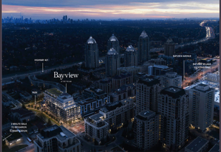 Dusk Aerial View of Bayview at the Village Condos