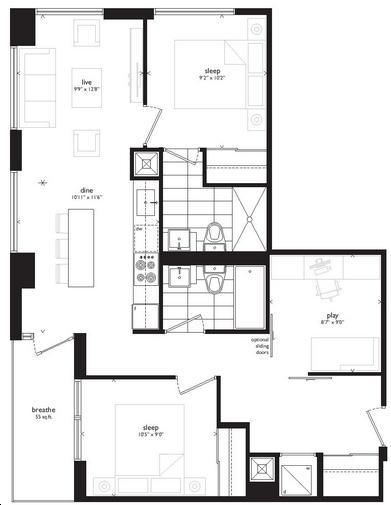 Beacon Condos By Sorbara Aurora Floorplan 2 Bed Amp 2 Bath