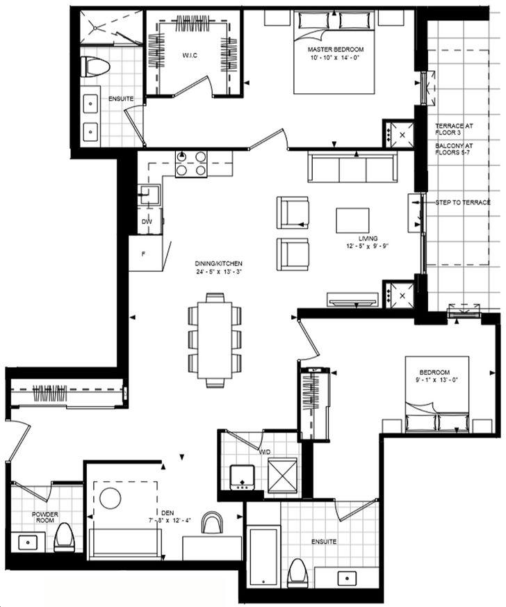 Bijou On Bloor Condos By Plaza 2d J Bf Floorplan 2 Bed 2 5 Bath
