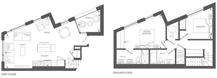 Birchcliff Urban Towns By Core Development Boulevard Residence 8 Floorplan 2 Bed 2 Bath