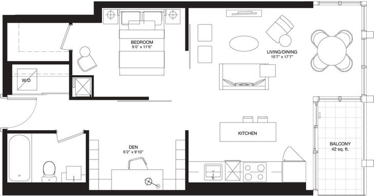 Bisha Hotel And Residences By Lifetime Dillon Floorplan 1 Bed 1 Bath