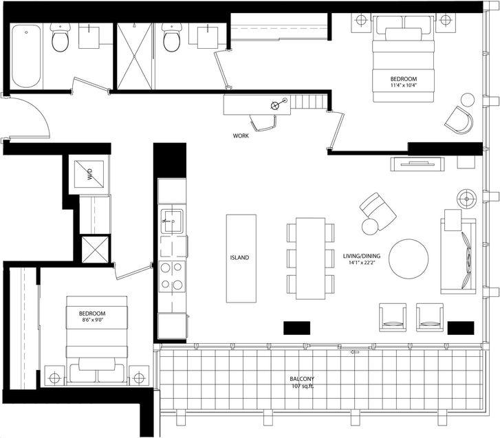 Bisha Hotel And Residences By Lifetime Daria Floorplan 2 Bed 2 Bath