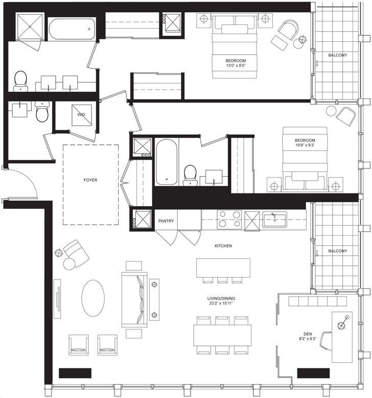 Bisha Hotel And Residences By Lifetime Liam Floorplan 2 Bed 3 Bath