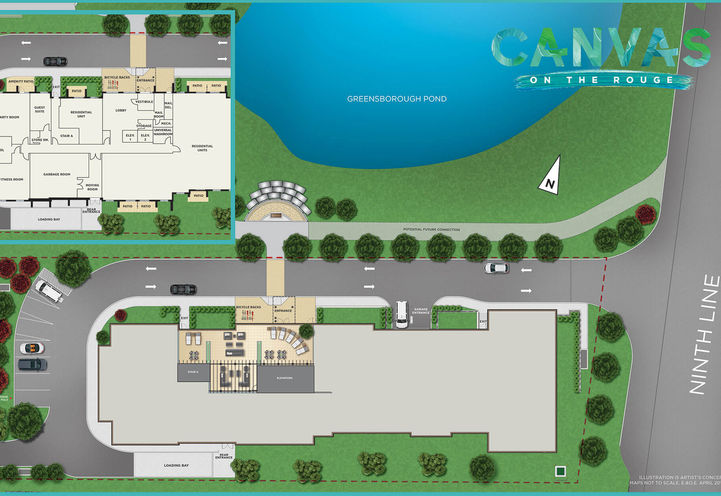 Site plan of Canvas on the Rouge Condos by Flato Developments Inc
