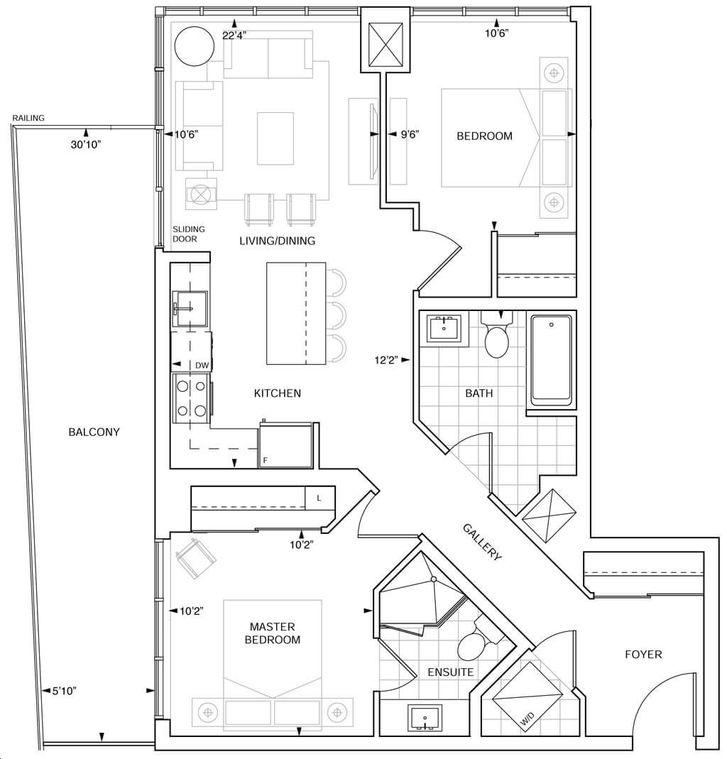 Fairview Mall Floor Plan: PH C 874 Floorplan 2 Bed & 2
