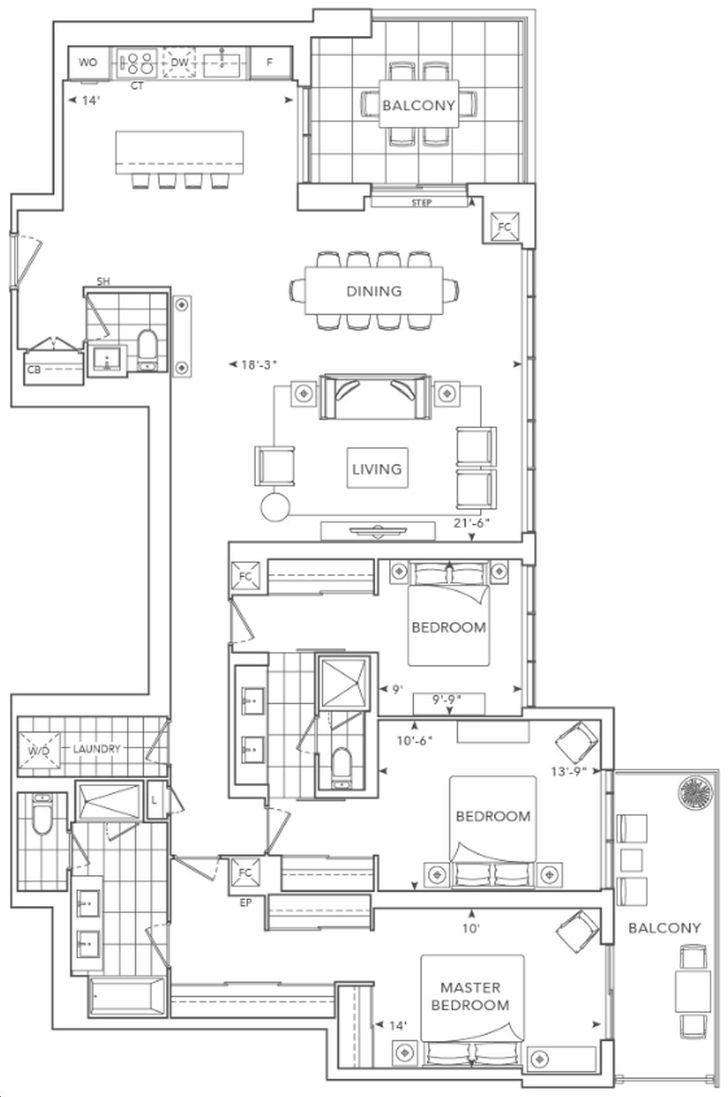 Chateau Auberge Condos by Tridel T112CB-112 Floorplan 112 bed & 112.12 bath