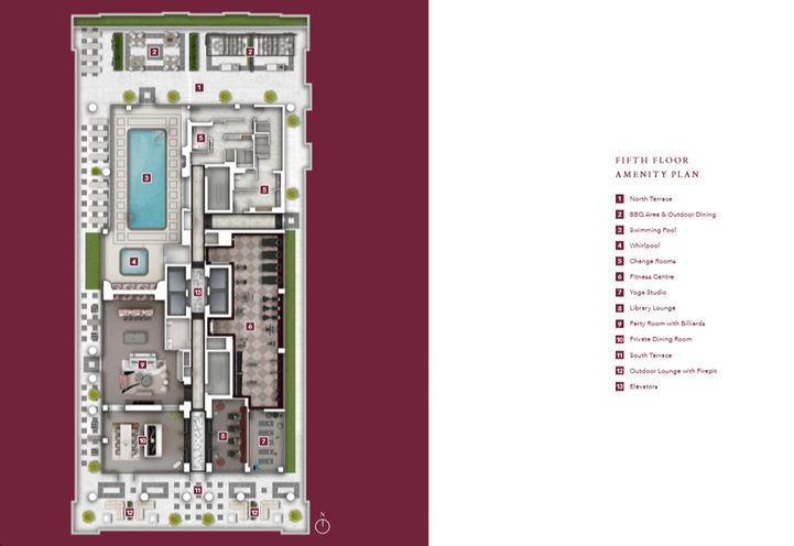 Fifth Floor Amenity Plan at Chateau Auberge