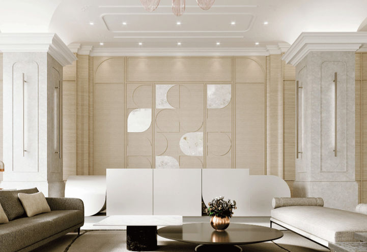 Grand Lobby with White Stone Floors and Gold, White and Blush Accents.