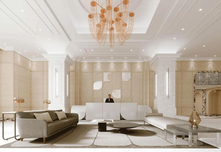 Two-Storey Grand Lobby with French-Inspired Aesthetics
