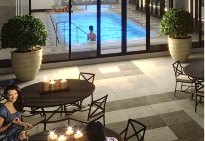 View of the North Terrace and Indoor Pool Area at Chateau Auberge