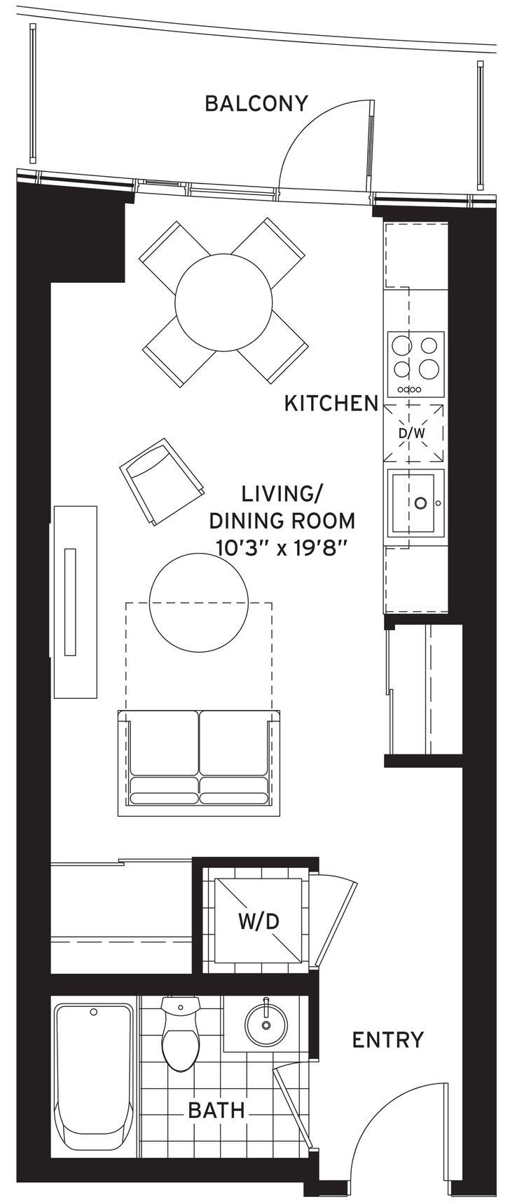 Cinema Tower By Daniels The Cameron Floorplan Bed 1 Bath
