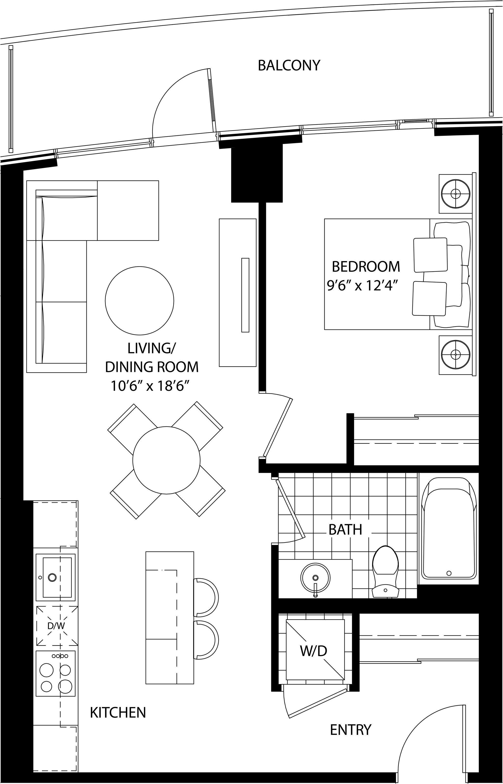 Cinema Tower By Daniels The Scott Floorplan 1 Bed 1 Bath