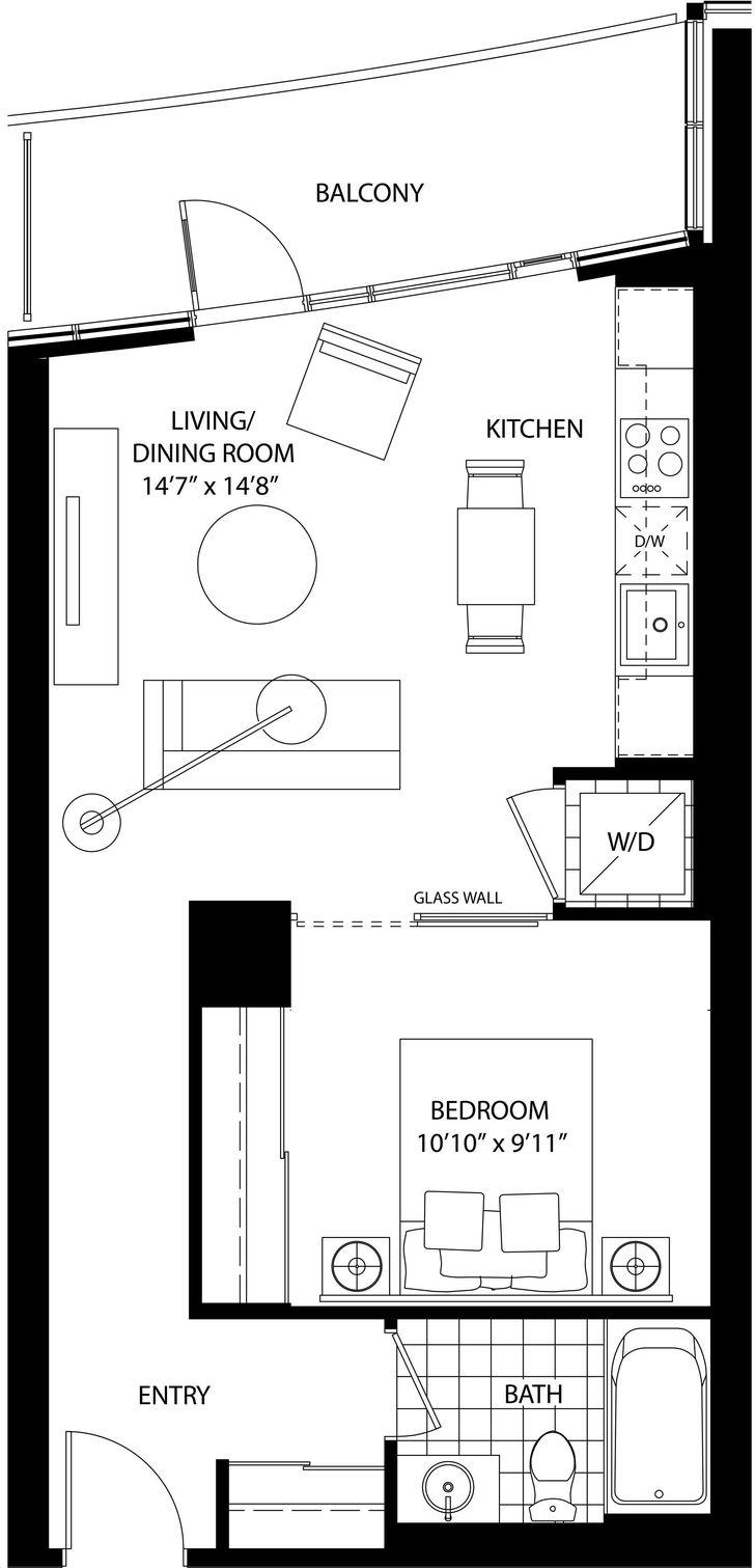 Cinema Tower By Daniels The Welles Floorplan 1 Bed 1 Bath