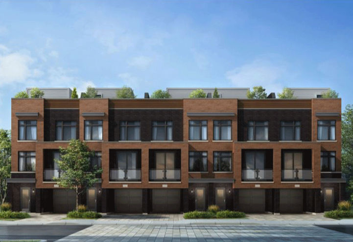 Citywalk Towns, Dark colored brick exterior Townhomes with First Floor Backyard