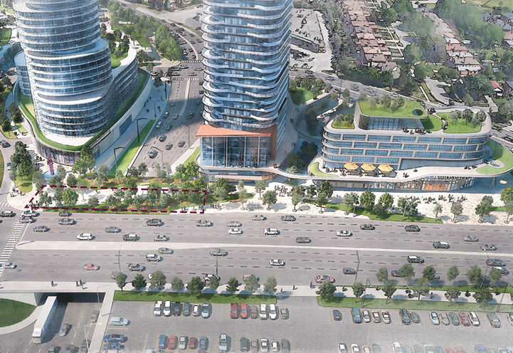 Bird's Eye View Rendering From Dundas St. of Cloverdale Mall Condos 3